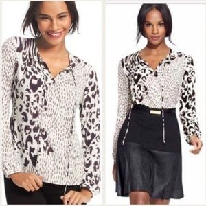 CAbi black and white cheetah print blouse